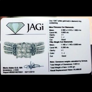 10k white gold 2.60ct diamond ring size 7